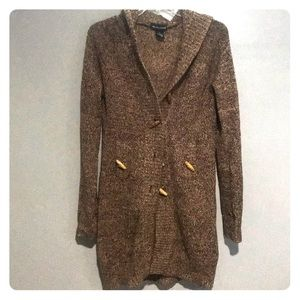 Long brown button sweater